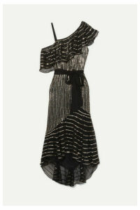 Temperley London - Mosaico Off-the-shoulder Embellished Chiffon Midi Dress - Black