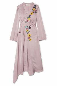 Etro - Wrap-effect Embroidered Satin Midi Dress - Lilac