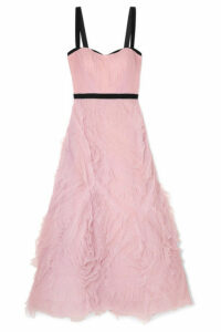 Marchesa Notte - Velvet-trimmed Tulle Gown - Lilac