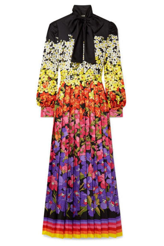 Gucci - Pussy-bow Printed Silk-twill Gown - Black