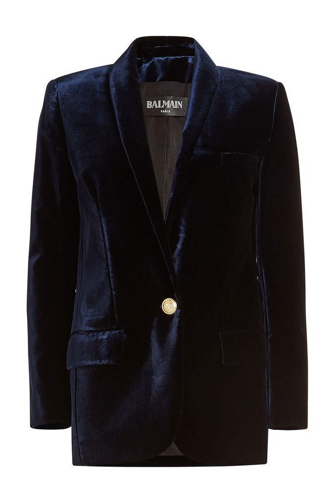 Balmain Velvet Blazer with Embossed Buttons