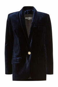 Balmain Velvet Blazer with Embossed Buttons