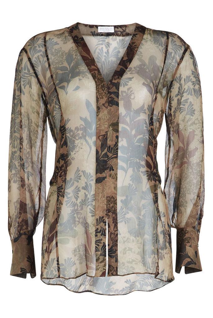 Brunello Cucinelli Printed Silk Chiffon Blouse
