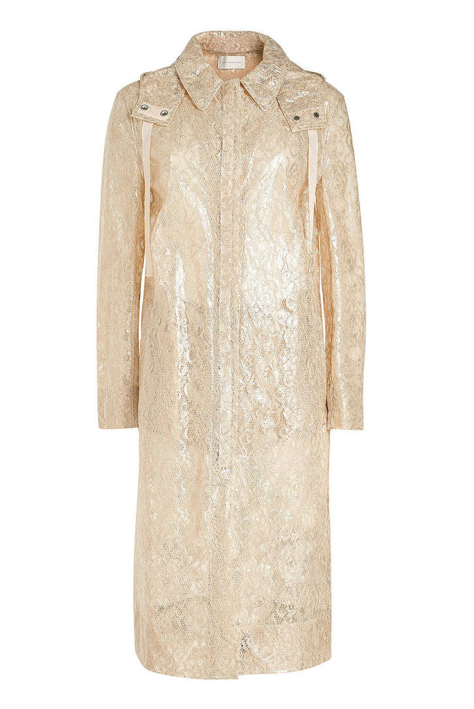 Christopher Kane Metallic Lace Coat with Hood