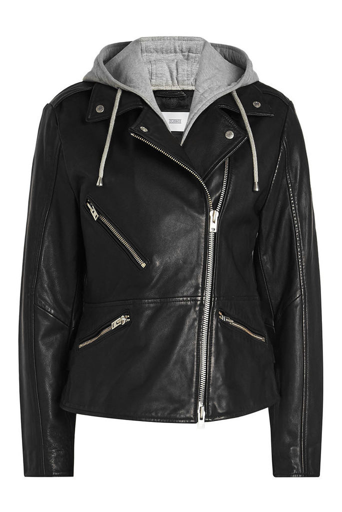 Closed Park Embellished Leather Biker Jacket with Hoody