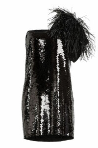 N °21 Sequin Mini Dress with Ostrich Feathers