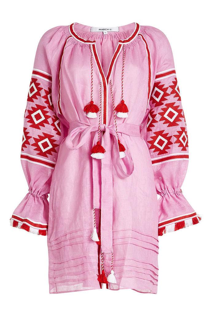 MARCH11 Geometry Linen Mini Dress