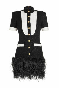 Balmain Metallic Tweed Dress with Ostrich Feathers