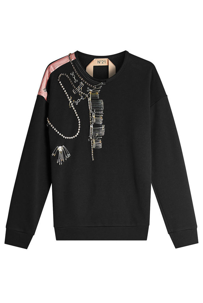 N °21 Embellished Cotton Sweat Top