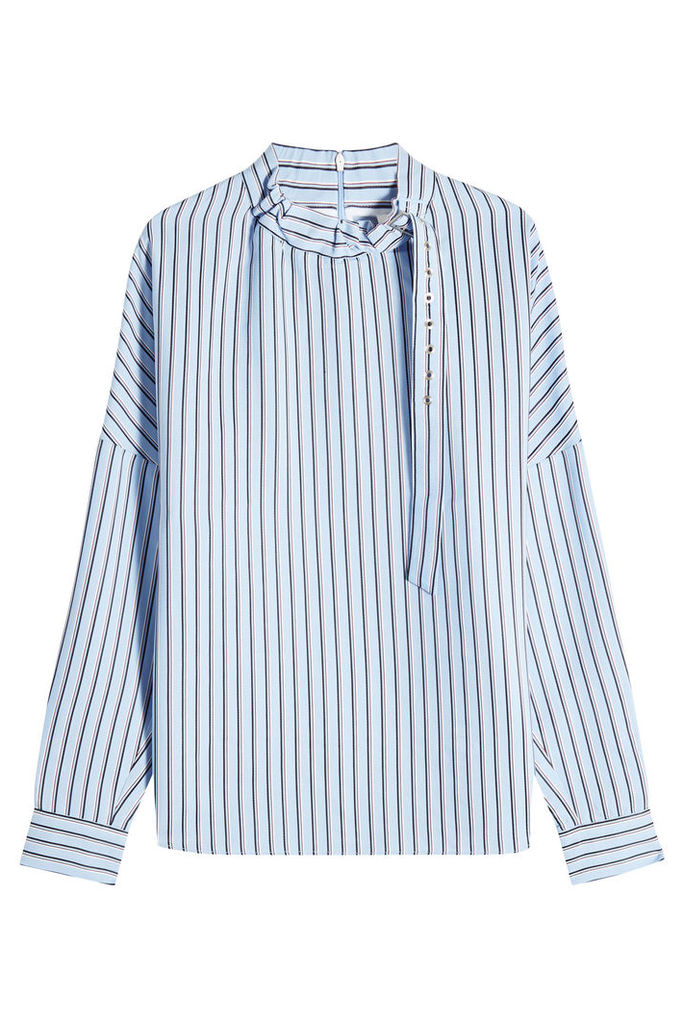 Tibi Striped Blouse with Buckled Collar