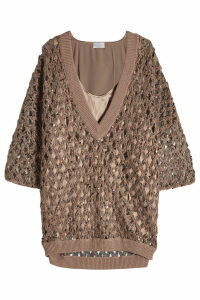 Brunello Cucinelli Pullover with Mohair, Cotton and Silk Camisole