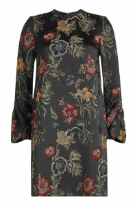 Rosetta Getty Embroidered Satin Shift Dress