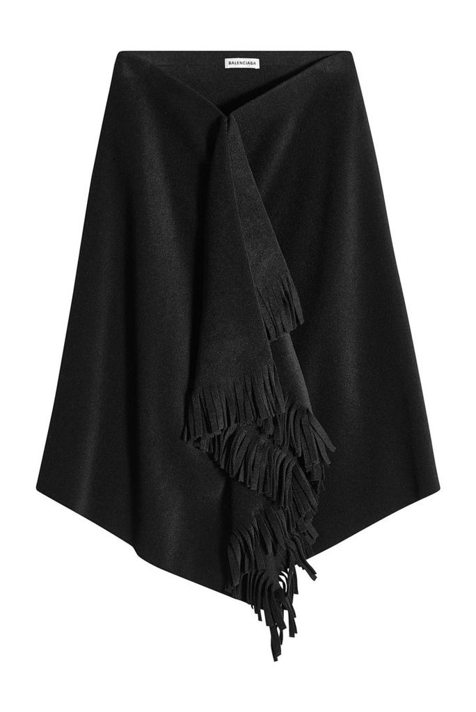 Balenciaga Fringed Skirt with Alpaca and Virgin Wool