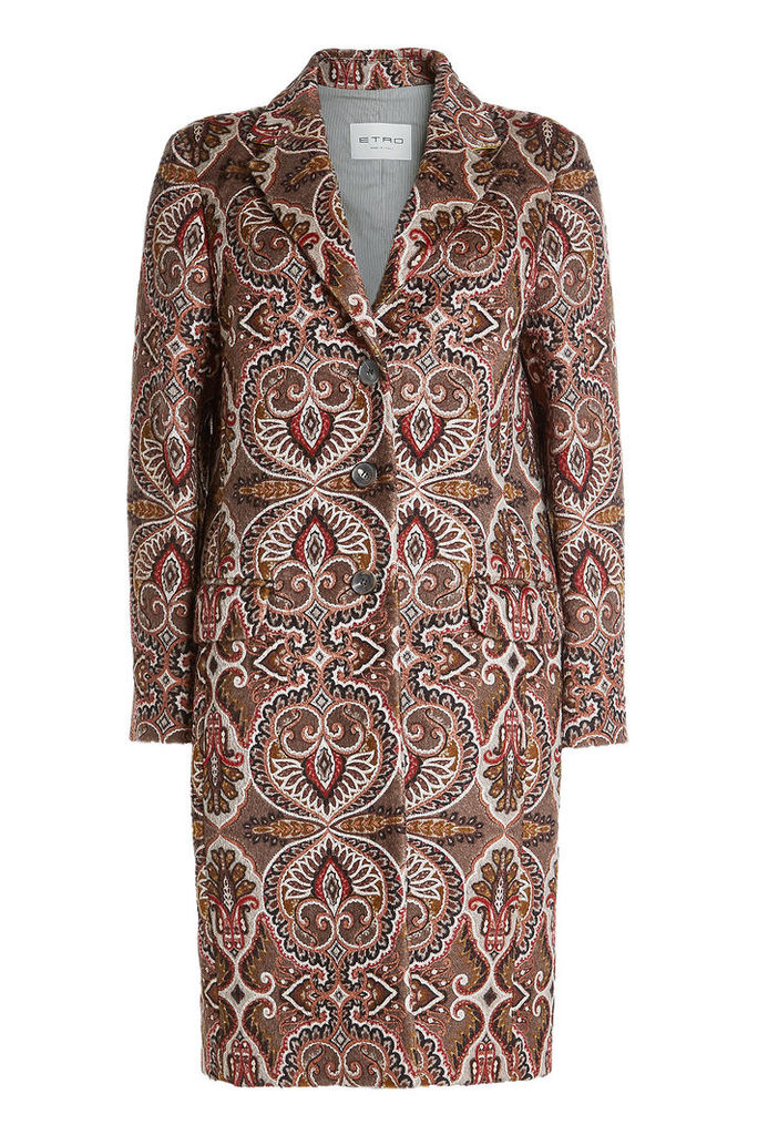 Etro Printed Coat with Wool and Mohair