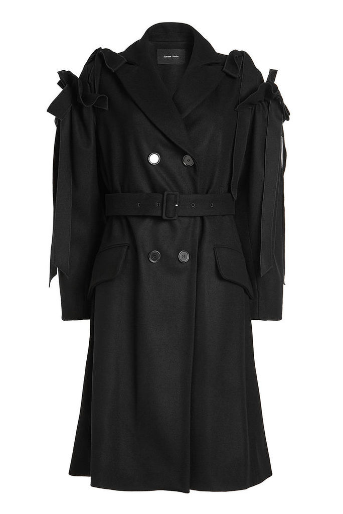 Simone Rocha Virgin Wool Coat with Ruffle Bow Sleeves