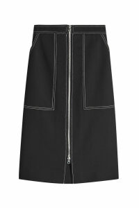 Diane von Furstenberg Cotton Patch Pocket Zip Skirt