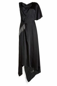 Christopher Kane Asymmetric Satin Dress with Crystal Embellishment