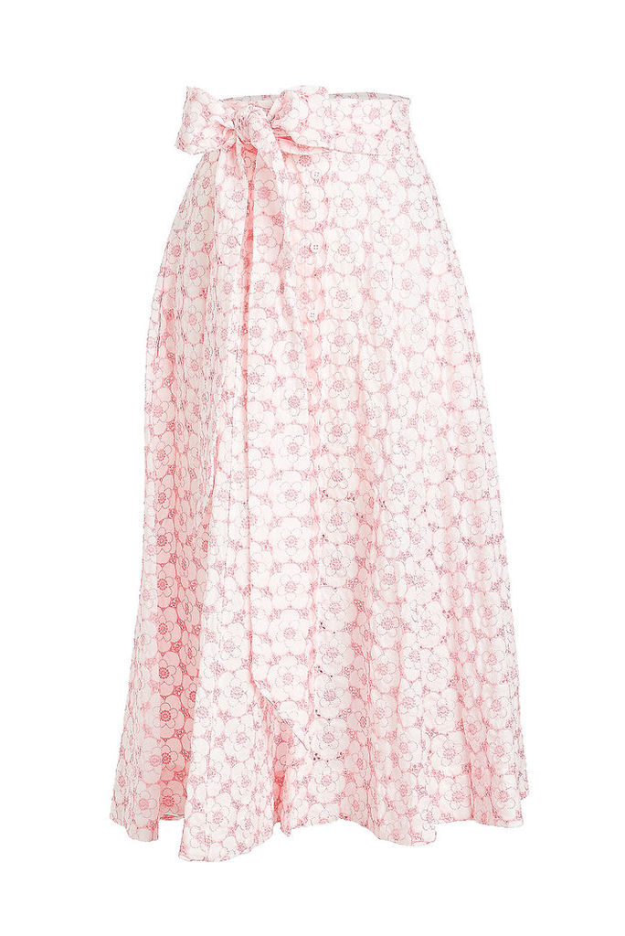 Lisa Marie Fernandez Cotton Skirt with Eyelet Cut-Out Detail