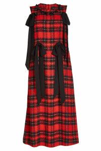 Simone Rocha Tartan Midi Dress with Embellishments