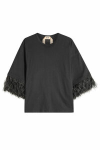 N °21 Cotton T-Shirt with Ostrich Feathers