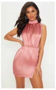 Rose Satin High Neck Side Boob Bodycon Dress, Pink