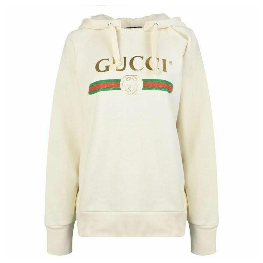 GUCCI Embroidered Fake Logo Hooded Sweatshirt