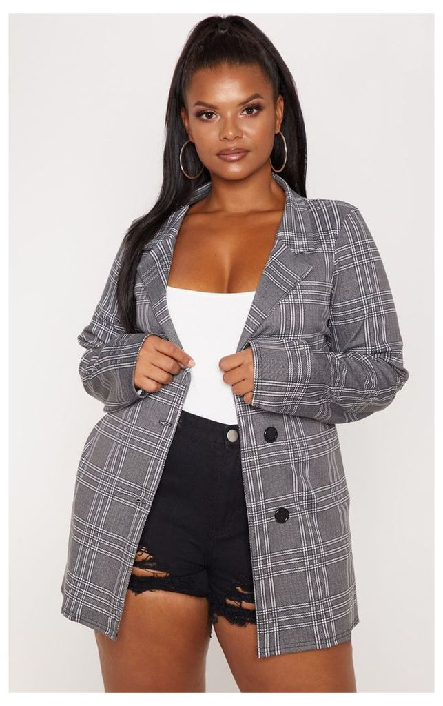 Plus Grey Checked Blazer, Grey