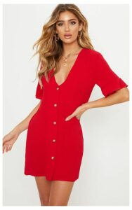 Red Oversized Button Front Shirt Dress, Red