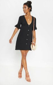 Black Oversized Button Front Shirt Dress, Black