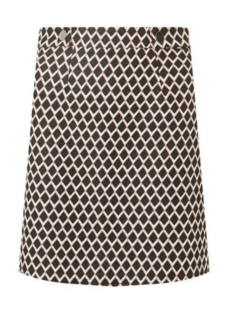 Womens Multi Colour Geometric Mini A-Line Skirt- Pink, Pink
