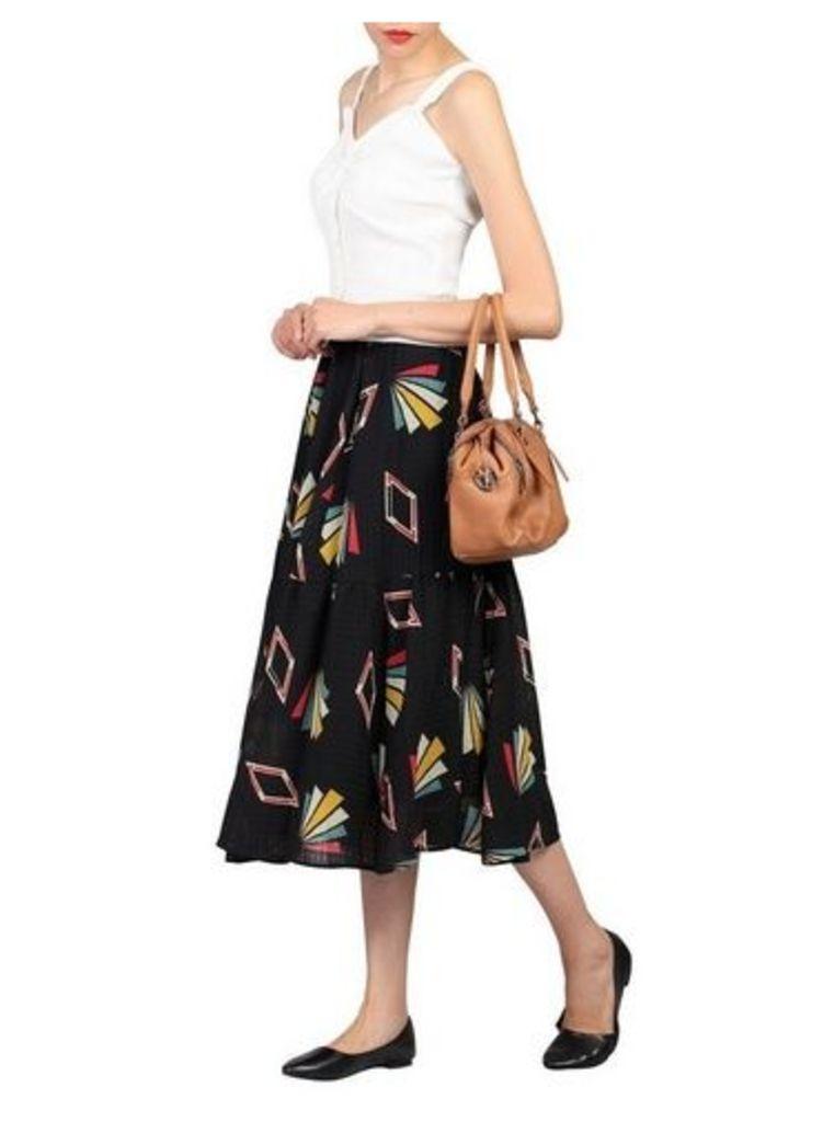 Womens *Jolie Moi Black Geometric Print Midi Skirt- Black, Black