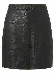 Womens Black Faux-Leather Mini A-Line Skirt- Black, Black