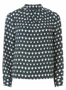 Womens Blue Geometric Print Long Sleeve Top- Blue, Blue