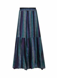 Womens *Jolie Moi Blue Striped Midi Cotton Skirt, Blue