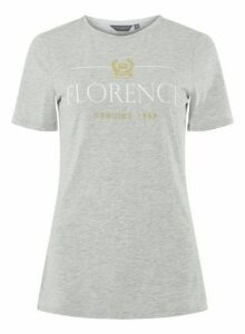 Womens **Tall Grey 'Florence' Motif T-Shirt- Grey, Grey