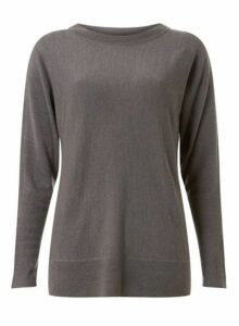Womens Charcoal Soft Zip Cuff Batwing Jumper- Grey, Grey