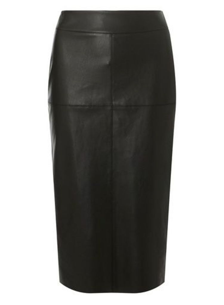 Womens **Tall Black Faux Eather Midi Skirt- Black, Black