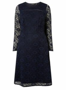 Womens **Dp Curve Navy Lace Long Sleeve Fit And Flare Dress- Blue, Blue