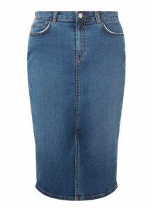 Womens Blue Mid Wash Pencil Skirt, Blue