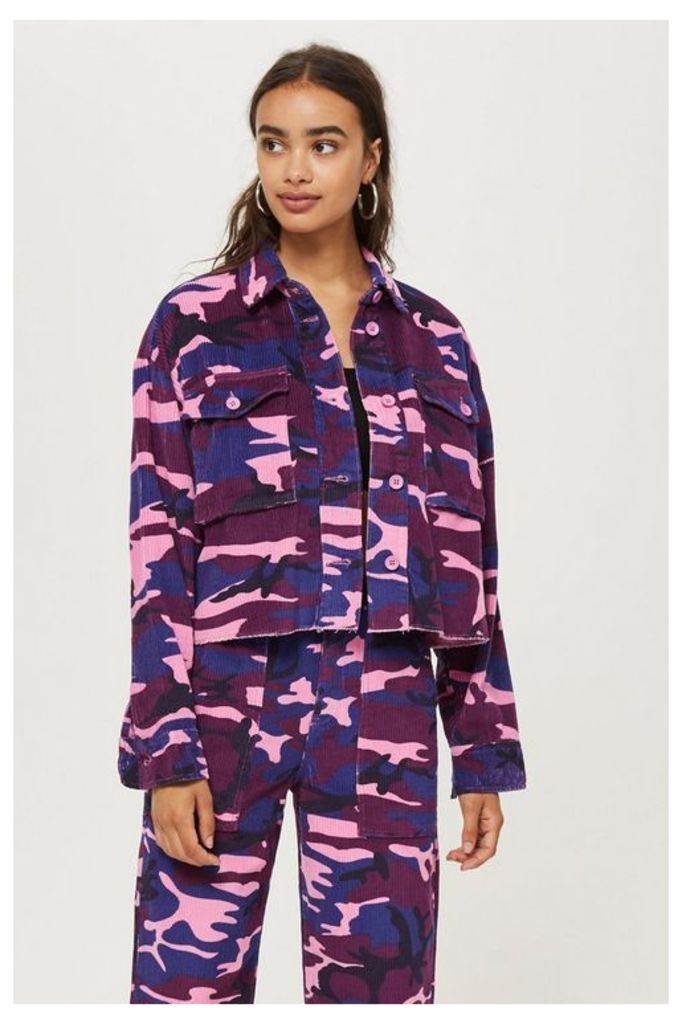 Womens Petite Pink Camouflage Shacket - Pink, Pink