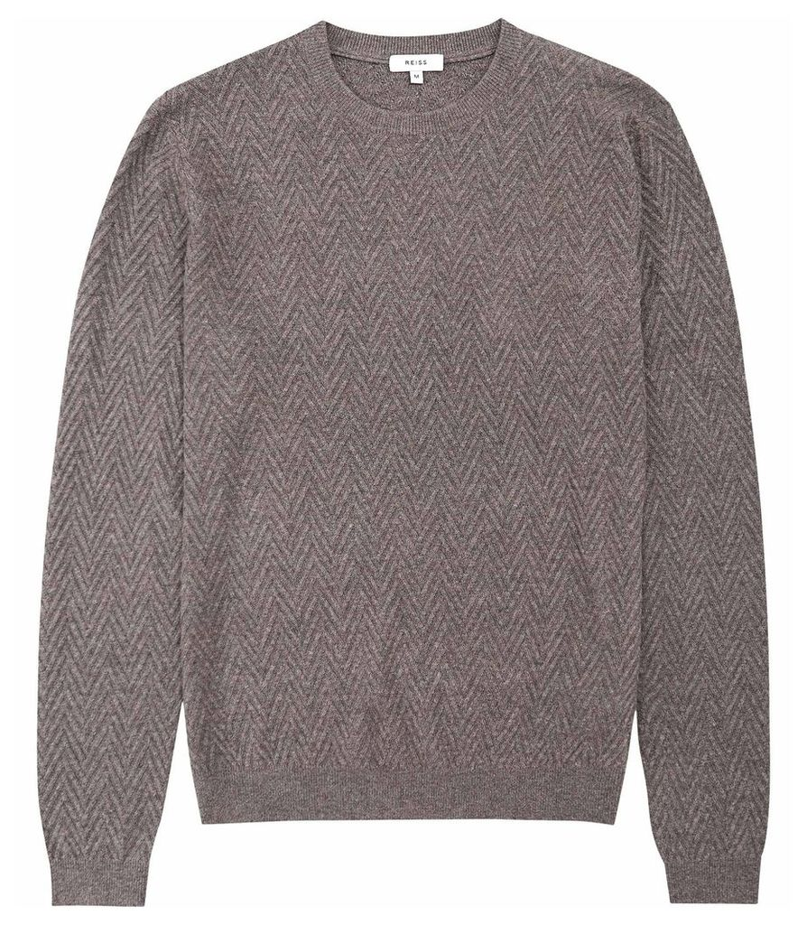 Reiss Avons - Chevron Cable Knit Jumper in Taupe, Mens, Size L
