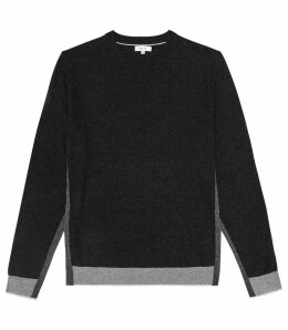 Reiss Morton - Colour Block Crew Neck Jumper in Charcoal, Mens, Size XXL