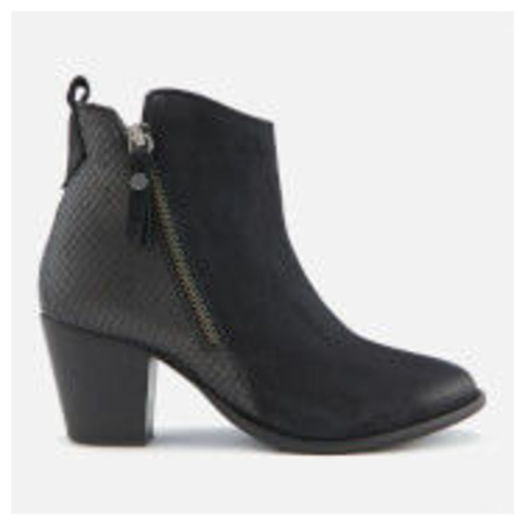 Dune Women's Pontoons Nubuck Heeled Ankle Boots - Black