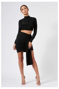 Womens **Black Ruched Layered Mini Skirt By Club L - Black, Black