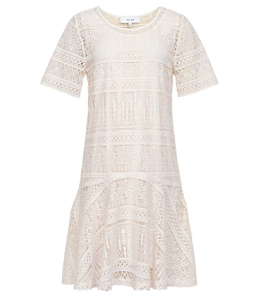 Reiss Linda - Lace Shift Dress in Off White, Womens, Size 16