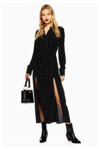 Womens Petite Spot Pleated Shirt Dress - Black, Black