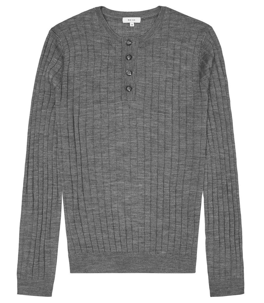 Reiss Stavros - Wide Ribbed Henley Top in Grey Melange, Mens, Size S