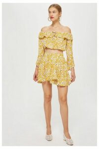 Womens **Rosa - Daisy On Yellow Printed Wrap Skirt By Wyldr - Multi, Multi