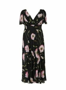 **Scarlett & Jo Black Float Sleeve Maxi Dress, Pastel Multi