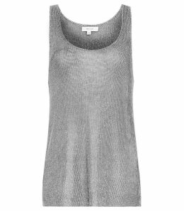 Reiss Lilian - Metallic Knitted Top in Silver, Womens, Size XXL